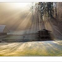 Gegenlicht, Sonnenstrahlen, Bauernhof